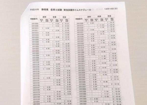 保育士試験実技試験タイムスケジュール